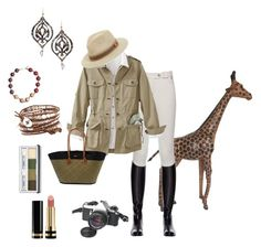 """""""African Queen Safari"""" by beth-hayward-fillioe ❤ liked on Polyvore featuring Miasuki, TravelSmith, Lisa August, Yves Saint Laurent, Clinique, Bailey, Pentax, Chan Luu and Gucci"""