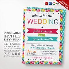 Wedding Invitation Template - Rainbow Wedding Invitation - Printable DIY Rainbow Chevron Wedding Invitation Editable Bright Wedding Invite by GeekeryAndMadness on Etsy https://www.etsy.com/listing/219749179/wedding-invitation-template-rainbow