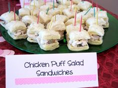 Chicken Salad Puff Sandwiches- So cute and little! These tasty little sandwiches are perfect for parties!