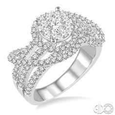 1 3/8 Ctw Diamond Lovebright Ring in 14K White Gold