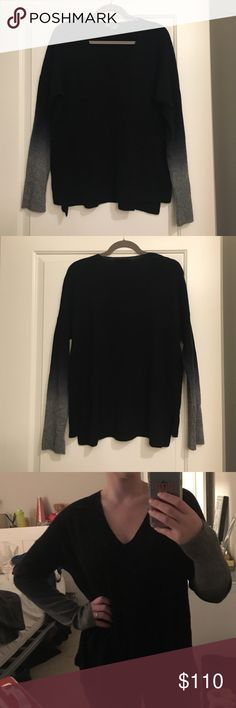 Vince Cashmere Sweater Worn once, too big on me now! 70% Wool, 30% Cashmere. Black sleeves fade into a beautiful grey. Purchased at Neiman Marcus. ABSOLUTELY NO PILLING. I 100% guarantee you that there is no pilling at all. Smoke free home. No trades please! Make me an offer! 😊💜 Vince Sweaters V-Necks