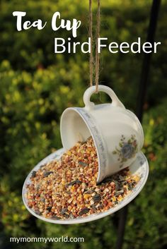 This DIY teacup bird feeder craft is a pretty way to decorate your yard. Using recycled tea cups, some strong glue, and a piece of twine or ribbon, you'll have lots of birds visiting your yard or garden. This tea cup craft also makes a great Mother's Day gift too!