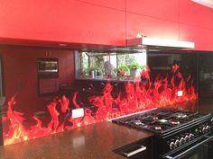 "Our famous ""flame"" design - Ultimate Glass Splashbacks"
