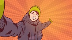 Young Man In Winter Clothes Take Selfie Photo Pointing Hand To Copy Space Over Colorful Retro Style Background Superhero Background, Comic Boom, Comic Book Template, Comic Bubble, Comic Frame, Team Challenges, Comic Poster, Comic Book Style, Comic Book Pages