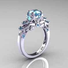 Classic 14K White Gold 1.0 Ct Blue Topaz by DesignMasters on Etsy, $959.00... Ok I want this!