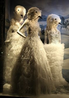 Superbly creepy bird women Window Display.