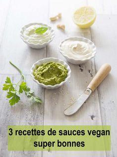 3 recettes de petites sauces vegan extra - Biodelices.fr Parfois une petite sauce fait toute la différence pour l'assaisonnement d'un plat. Je vous en propose 3 recettes différentes, que j'utilise assez souvent (surtout la dernière). A faire avec d'autres herbes, d'autres épices pour relever un sandwich, une salade, un burger, un wrap ou même servir de dips…