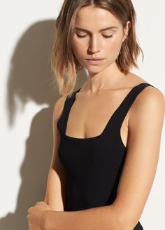 This clean and modern essential tank is done in an Italian stretch fabric for a smooth, close fit. Features wide straps, a square neckline, and a low back. Modern Essentials, Unique Fashion, Fashion Design, Fashion Plates, Stretch Fabric, Cute Girls, Basic Tank Top, Neckline, Tank Tops