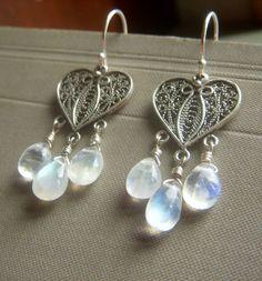 Rainbow Moonstone Earrings on Sterling  Wirewrapped by beadstylin