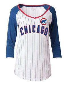 ed30e56d45c Chicago Cubs Women s Pintstriped 3 4 Sleeve Jersey Style T-shirt