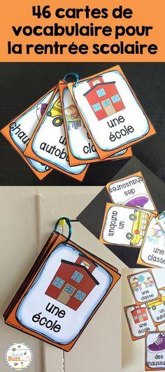 46 cartes de vocabulaire sur le thème de la rentrée scolaire