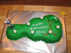 Golf Birthday Cake made from a Wilton Guitar Cake Pan...