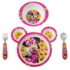 This four-piece feeding set has a lot of character! Kids will look forward to meals with their favorite Disney friends, and you'll love the features. All pieces are dishwasher safe and the plate and bowl are microwave safe. The sectioned plate provides a perfect place for finger foods, while the bowl has deep sides designed to make scooping easier. The flatware is stainless steel with durable plastic handles that are easy to grasp. All items are made without BPA. Size: One Size. Color: Multicolo Toddler Plates, Kids Plates, Minnie Mouse, Knife And Fork Set, Toddler Car, Baby Mickey, Forks And Spoons, Mickey And Friends, Dinnerware Sets