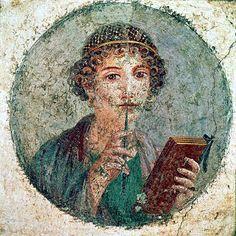 Poet woman, fresco from Pompeii, Villa dei Misteri