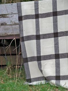 Black Welsh Mountain Window Pane check CPN77 - Naturals collection New Welsh Wool Blankets