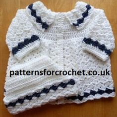 Free Matinee Coat & Ski Hat Baby Crochet Pattern from http://www.patternsforcrochet.co.uk/baby-coat-hat-usa.html easy to follow instructions, written in both USA and UK formats. #crochet #patternsforcrochet