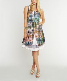 Another great find on #zulily! Blue Rainbow Abstract Sleeveless Dress by Miss Nikky #zulilyfinds