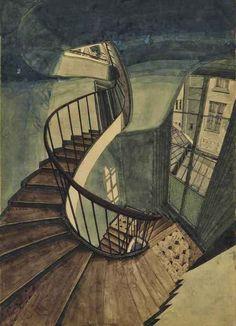 Sam Szafran (French, b. 1934), L'escalier, 54 rue de Seine, 1992. Watercolour and pencil on paper, 52.8 x 37.8 cm.