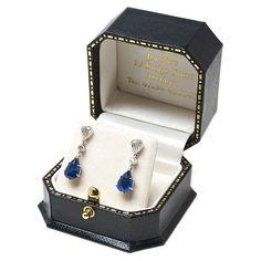 Teardrop Sapphire & Diamond 18ct White Gold by www.mccallsjewellers.co.uk #septemberbirthstone #sapphireearrings #vintageearrings #teardropsapphire #septemberbirthstoneearrings