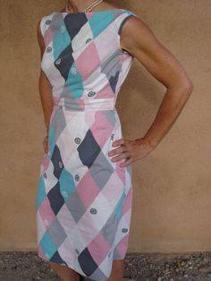 Vintage 1950s Harlequin Wiggle Dress Cotton by bycinbyhand on Etsy, $65.00