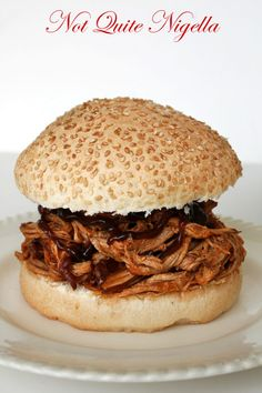 Pulled Pork Sandwich - slow cooked lean pork, wholemeal bun and bbq sauce