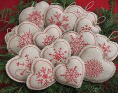 Embroidered Snowflake Linen Heart Christmas Ornaments /Bowl fillers /Redwork/Farmhouse Xmas