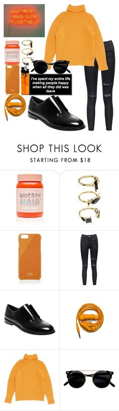 """orange grunge"" by theminimalist01 ❤ liked on Polyvore featuring Lime Crime, Noir Jewelry, Native Union, Steve Madden, Urbanears and Hermès"