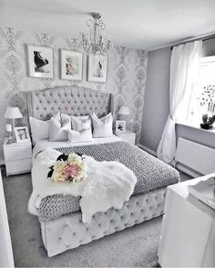 Different Interior Decorating Styles For a Living Room Cute Bedroom Ideas, Girl Bedroom Designs, Room Ideas Bedroom, Home Decor Bedroom, 70s Bedroom, Jungle Bedroom, Silver Bedroom, Bed Room, Stylish Bedroom