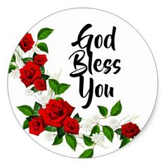 Red Roses white flowers God Bless You Classic Round Sticker - wedding stickers unique design cool sticker gift idea marriage party
