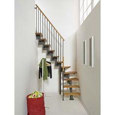Escalier modulaire Strong, marches bois/ structure métal gris
