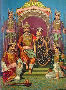 From the Mahabharata: Draupadi with her five husbands - the Pandavas, painting by Raja Ravi Varma, ca. Indian Gods, Indian Art, Raja Ravi Varma, The Mahabharata, Photos Hd, Hindu Deities, Hindu Art, Indian Paintings, Ravivarma Paintings