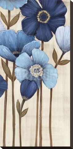 Fleurs Bleues II Stretched Canvas Print by Maja at Art.com