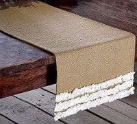 """Our Natural Burlap & Creme Voile Ruffled Runner 13x36"""" is a great way to accessorize your table.  Add your favorite centerpiece and greenery and your table will be ready for the holidays.  http://www.primitivestarquiltshop.com/Natural-Burlap-Creme-Voile-Ruffled-Runner-13x36_p_8841.html"""