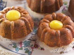 """Individual Pistachio Bundt Cakes with Lemon Curd Filling (The Linen and Lace Tea Party) - Nancy Fuller, """"Farmhouse Rules"""" on the Food Network."""