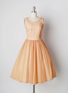 vintage 1950s dress / 50s peach dress / lace chiffon by cutxpaste