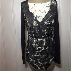 """Make Offer-$32 Bundle-Black/OffWhite Mix Top-NWT Black and Off-White with small hints of sage green Mix media Top... New With Tag. Two front sheer front panels of opposite colors, back has the main black sheer fabric, has black ribbon belt and arms and across shoulders is t-shirt material. Has little stretch. Body is made of 100% polyester; Sleeve is 65% polyester and 35% rayon...machine washable. Measures 18.5"""" across bust line, 26.5"""" in length, 24.5"""" sleeves and 21"""" across bottom hem. All…"""