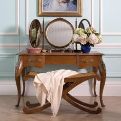 This Floral Dressing Table is an elegant companion to our Floral range of luxury bedroom furniture. Featuring three drawers with delicate hand-painted flowers. Luxury Bedroom Furniture, Painted Bedroom Furniture, Bedroom Desk, Master Bedroom, Natural Wood Finish, Luxurious Bedrooms, Dressing Tables, Dressing Room, Inspiration