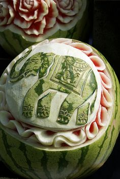 Thai Festival, Greenwich: Blue Elephant carved fruit display by CarolineLD, via Flickr