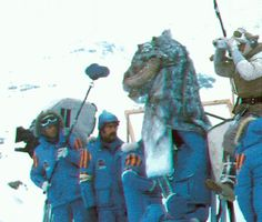 Crew filming Mark Hamill scanning the Hoth surface as a puppeteer operates the Tauntaun head.