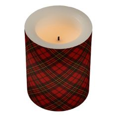 Adorable Red Christmas tartan Flameless LED Candle by #PLdesign #Christmas #Tartan #ChristmasGift