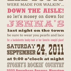 Cowgirl Western Bachelorette Invitation   invitingprintables - Digital Art  on ArtFire