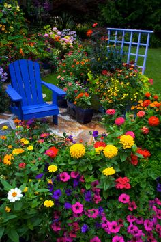 Backyard Flower Garden With Chair - 42-18032729 - Rights Managed - Stock Photo - Corbis