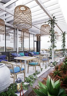 Modern contemporary and cool greenhouse style restaurant, bar café tables and seating! LOVE this style with all of the fresh green plants! And the basket lights! Outdoor Restaurant Design, Restaurant Themes, Terrace Restaurant, Hotel Restaurant, Restaurant Lighting, Modern Restaurant, Terrace Cafe, Green Terrace, Terrace Floor
