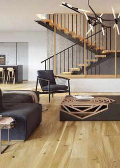 Klassiskt parkettgolv av träslaget ek med en naturlig varm guldig ton och med en tålig lackad yta. Stairs, Home Decor, Stairway, Decoration Home, Room Decor, Staircases, Home Interior Design, Ladders, Home Decoration