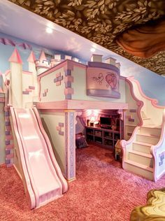 kleinkind zimmer Princess castle for girl. Paint for a boy. Or do a pirate ship for boy Bed For Girls Room, Cool Kids Bedrooms, Kids Bedroom Designs, Cute Bedroom Ideas, Room Design Bedroom, Cute Room Decor, Room Ideas Bedroom, Kids Room Design, Little Girl Rooms