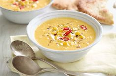Make a batch of this wholesome, chunky soup filled with aromatic lemongrass paste, fiery red chillis, fresh ginger and gold kernels of sweetcorn. Its great as a healthy lunch or light dinner, best served with warmed naan bread. Sweetcorn Soup Recipes, Vegetable Soup Recipes, Winter Vegetable Soup, Winter Vegetables, Tesco Real Food, Fresh Ginger, Perfect Food, Kitchens
