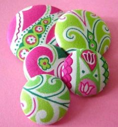 Pink and Green Custom Buttons! Cute craft: cover buttons in sorority colors or Lilly Pulitzer patterned fabric.