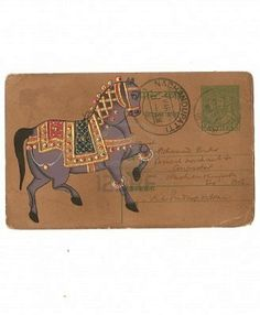 Indian miniature painting of horse I Postcard I Udaipur India