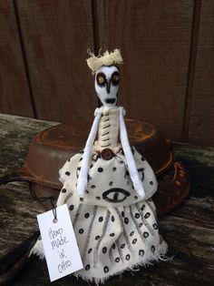 Primitive Skeleton Fabric Art Doll Halloween Hand Made in Ohio | eBay