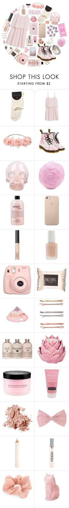 """pretty in pink"" by http-mxrmaid ❤ liked on Polyvore featuring MANGO, Dr. Martens, Horace, philosophy, NARS Cosmetics, Essie, Fujifilm, Topshop, Madewell and Zara Home"